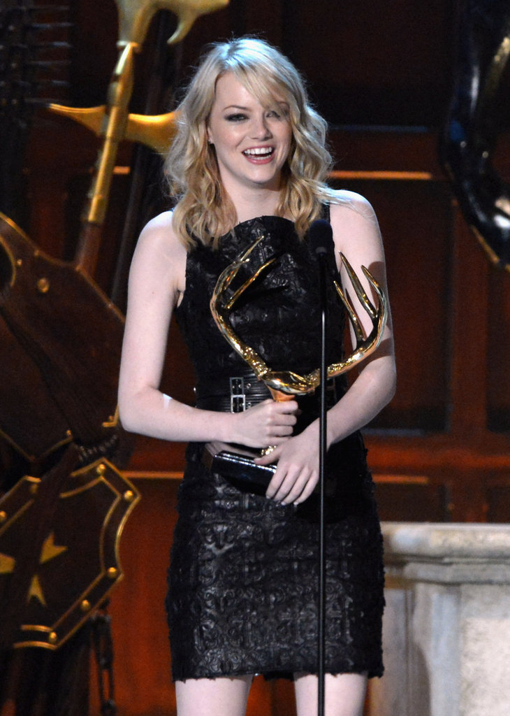Emma Stone graciously accepted her statue at the Spike TV Guy's Choice Awards in June 2012.