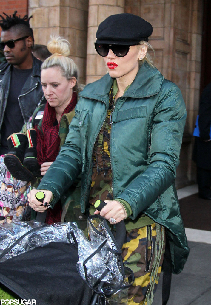Gwen Stefani left her hotel in London to catch the Eurostar to Paris.