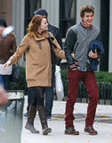 Emma Stone and Andrew Garfield laughed and held hands while walking through NYC in November 2011.