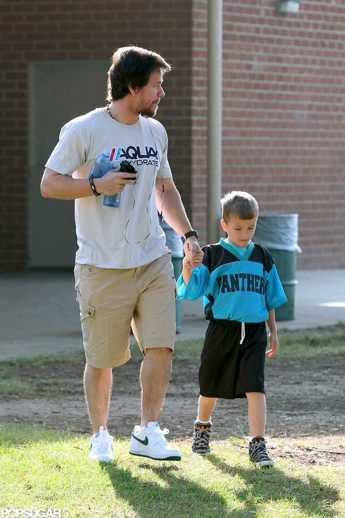 Mark Wahlberg held his son's hand at the park.