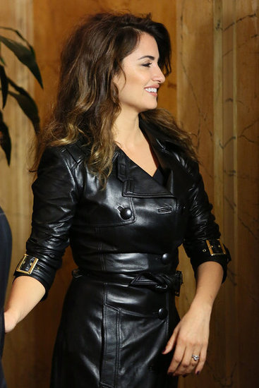 Penelope Cruz wore a Versace leather trench.