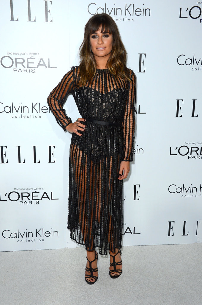 Maybe the sexiest at the Elle Women in Hollywood bunch, Lea Michele took lace to sultry lengths on this Zimmermann bodysuit and sheer dress.
