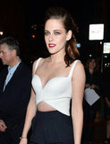 Kristen Stewart revealed a flash of her abs in this more revealing ensemble.