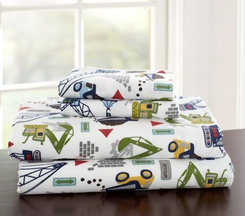 Pottery Barn Kids Busy Builder Flannel Sheeting