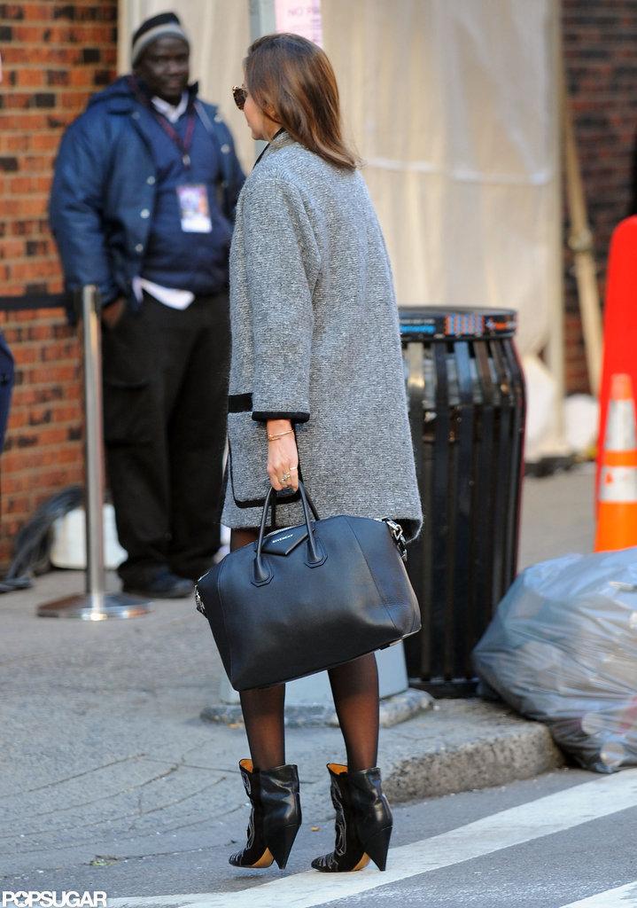 Miranda Kerr wore an Isabel Marant coat.
