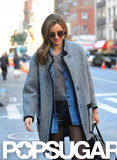 Miranda Kerr wore an Isabel Marant coat while heading to Victoria's Secret Fashion Show rehearsals.