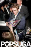 Robert Pattinson greeted fans in Los Angeles.