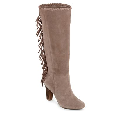 We love the neutral, go-with-anything hue and the fact that these Cosmopolitan Odessa Fringed Tall Suede Boots Black ($85) also come in under $100.
