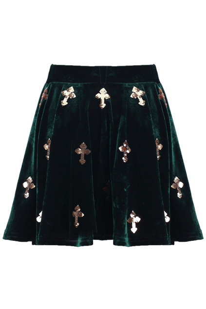 We love the forest green hue and metallic embellishments on this Romwe Dark Green Cross Velvet Skirt ($38).