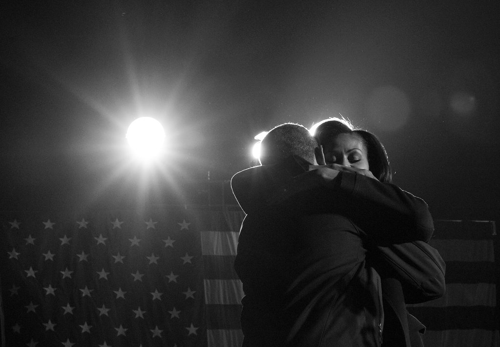 The Obamas shared a tender moment on stage.