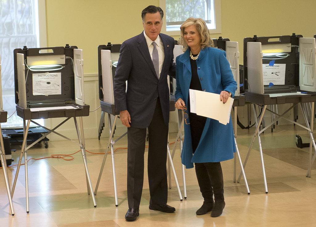 Mitt and Ann stayed close with ballots in hand.