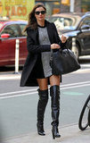 Miranda Kerr Legs It in NYC in Thigh High Boots