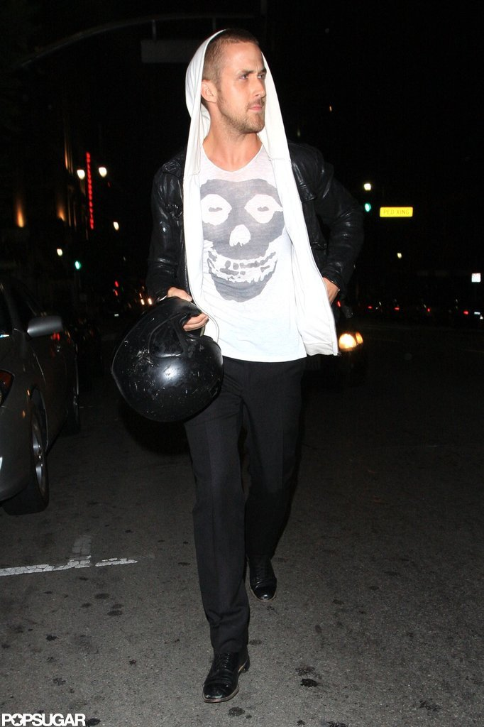 Ryan Gosling left LA's Bardot nightclub in July 2009 holding onto his motorcycle helmet.