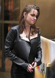 Kristen Stewart wore a black leather jacket in NYC.