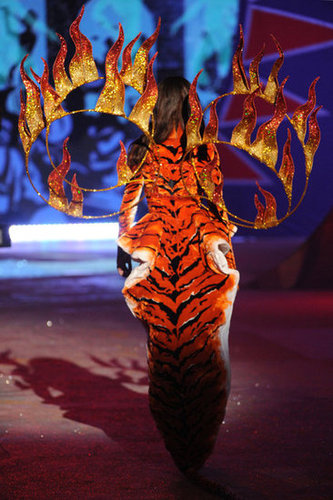 Joan Smalls wore flames on the runway at the Victoria's Secret Fashion Show.