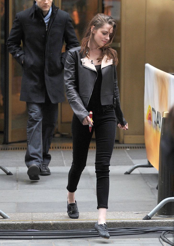Kristen Stewart wore all black to promote Breaking Dawn Part 2 in NYC.