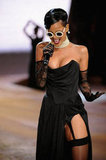 Rihanna wore black to perform onstage at the Victoria's Secret Fashion Show in NYC.