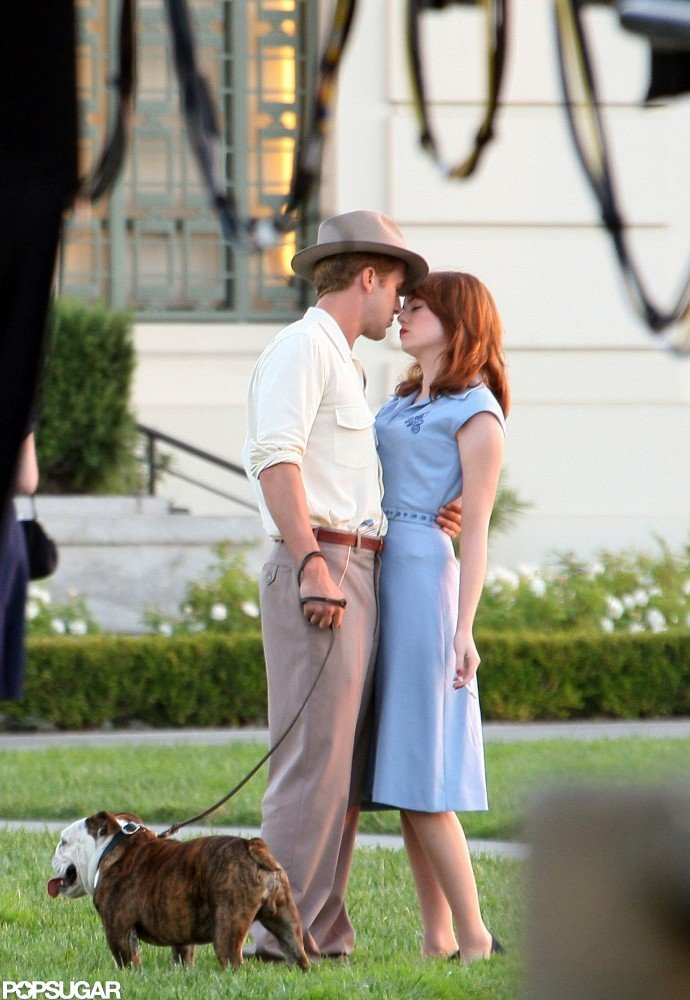 Ryan and Emma Stone reunited on the set of The Gangster Squad in 2011.