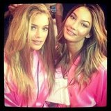 Doutzen Kroes and Lily Aldridge hung out backstage. Source: Instagram user doutzenkroes1