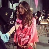 PopSugar caught up with Lily Aldridge backstage at the Victoria's Secret Fashion Show.. Source: Instagram user popsugar