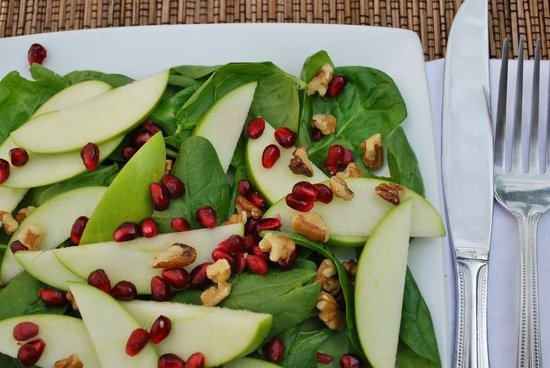 Two of Fall's favorites pair perfectly in this pomegranate and apple salad. The addition of walnuts will leave you crunching your way to antioxidant happiness!