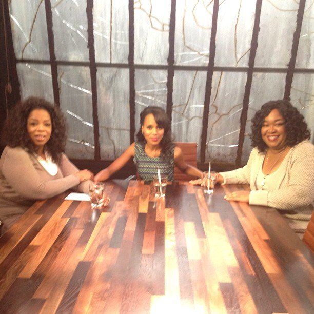 Oprah shared a picture of her, Kerry Washington, and Shonda Rhimes behind the scenes of Oprah's Next Chapter. Source: Instagram user oprah