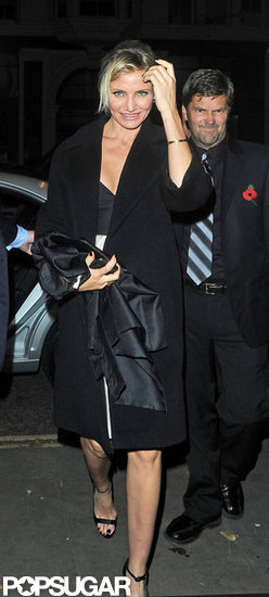 Cameron Diaz wore a black coat to the London event.