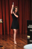 Kristen Stewart wore all black on Late Night With Jimmy Fallon in NYC.