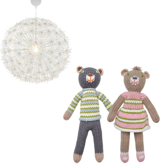 The pendant lamp above the daybed (Ikea's PS Makros ($90) is a great substitute for the one that Molly used) adds a touch of modern style to the room, while strewn about hand-knit Blabla dolls ($42—$52) remind us that it is a child's room.