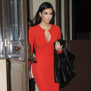 Kim Kardashian Wearing Red Keyhole Dress