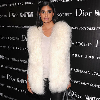 Rachel Roy Wearing White Fur Vest