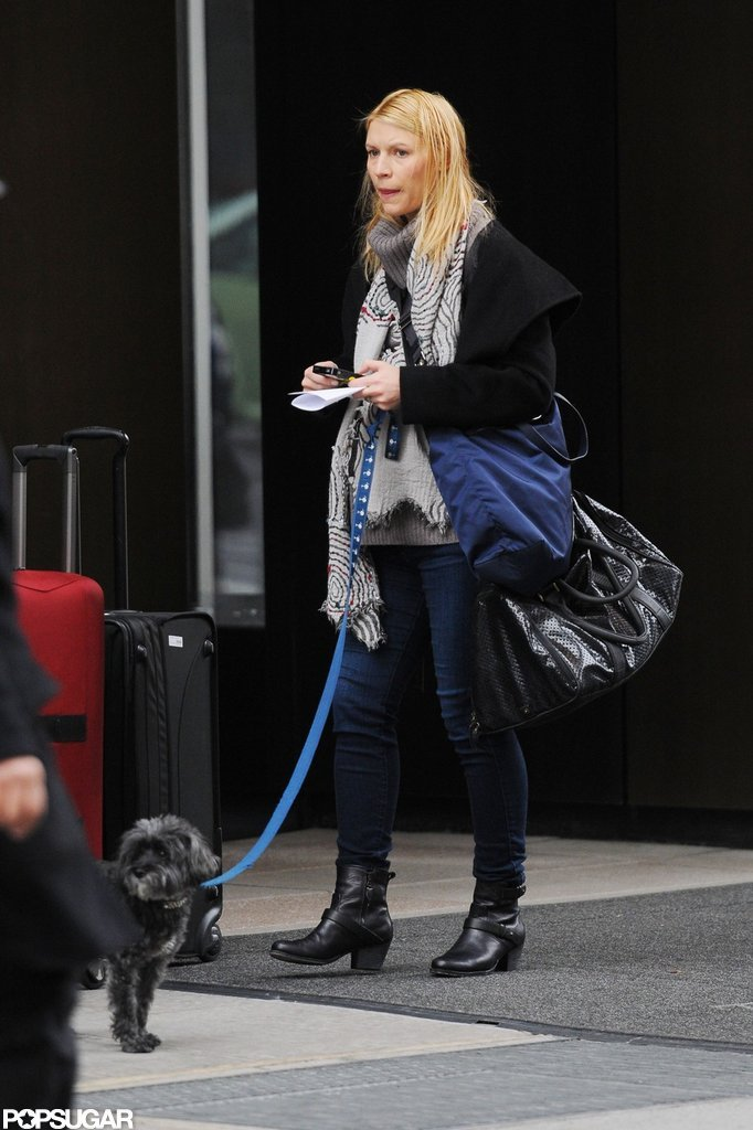 Claire Danes wore black boots in NYC.