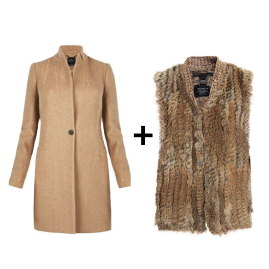Go tonal by pairing your camel coat with a similar-hued fur vest for a chic take on layering.  All Saint Camel Coat ($550) Marc by Marc Jacobs Knitted Fur Vest ($626)