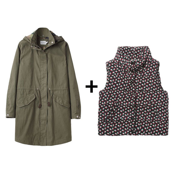 For a more casual look, style your go-to parka with a printed puffer vest.