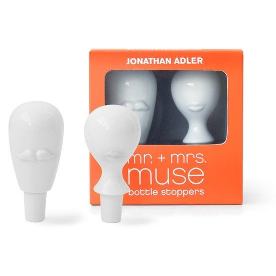 If there are two things I'm a fan of it's Jonathan Adler and wine. So this Mr. & Mrs. Muse bottle stopper set ($48) by the designer is on my must-have list. — Tara Block, assistant editor