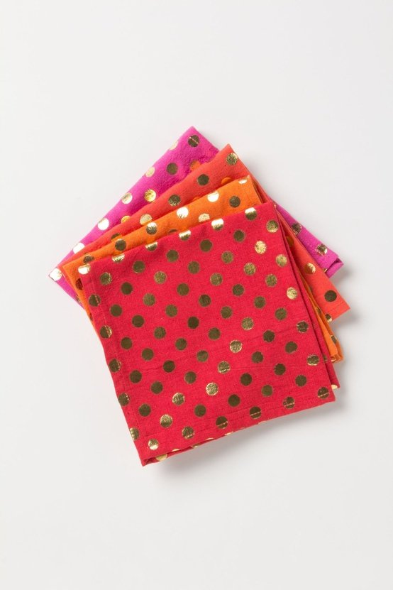 These foiled dot napkins ($24) will add pizzazz to even the most mundane mealtime. — Tara Block, assistant editor