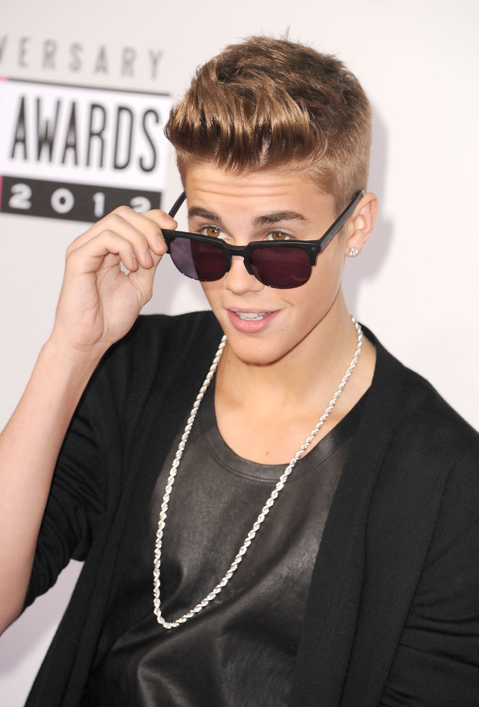 Justin Bieber wore sunglasses at the American Music Awards.