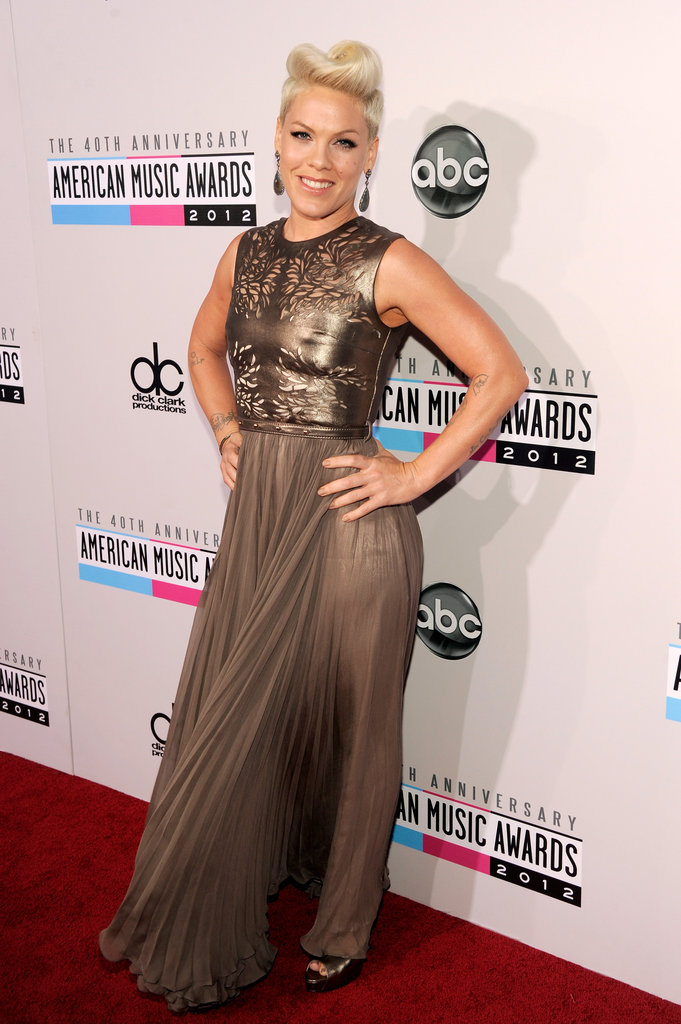 Pink Hits the American Music Awards Hand in Hand with Carey