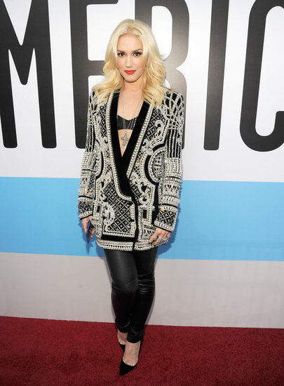 Gwen Stefani struck a cool-girl chord with this beaded, oversize Balmain jacket. To edge up the already-embellished look tenfold, she paired the top with a bralette and leather leggings.