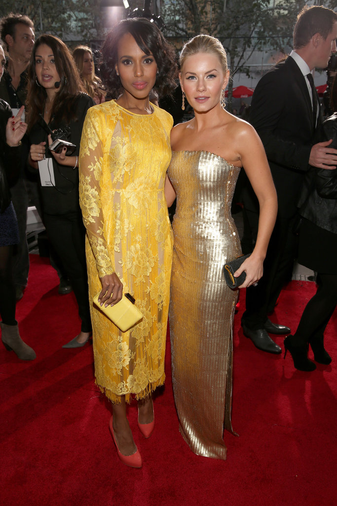 Kerry Washington and Elisha Cuthbert sparkled in gold.