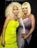 Blond bombshells Nicki Minaj and Christina Aguilera enjoyed themselves at the AMAs.