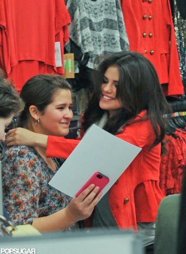 Selena Gomez hugged fans.