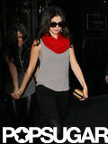 Selena Gomez wore sunglasses and a red scarf in NYC.