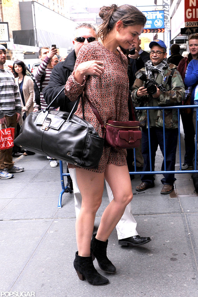 Katie Holmes showed off her legs in a short dress in NYC.