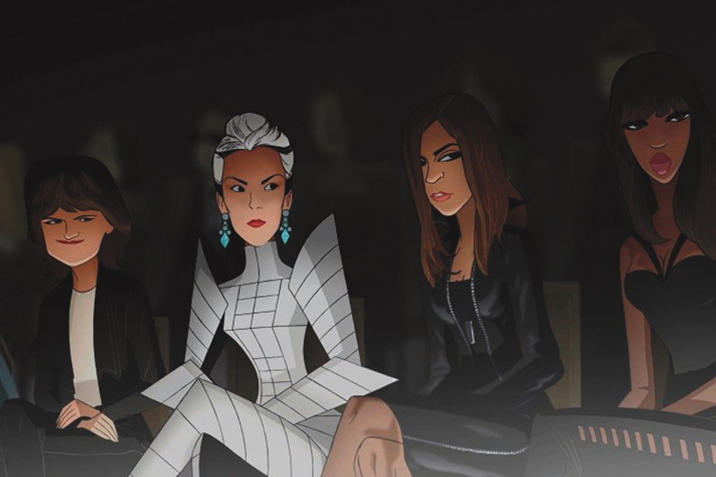 Cathy Horyn sits next to Daphne Guinness wearing a space-age ensemble.