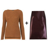 For the polished professional, you can colorblock too, as long as you keep it cool and subtle. That's why burgundy works here. We chose a knitted, ultratextured sweater and a slick pencil skirt for the perfect 9-to-5 pairing.  Topshop Knitted Step Hem Jumper ($80) + Tibi Bonded Vinyl Pencil Skirt ($725)