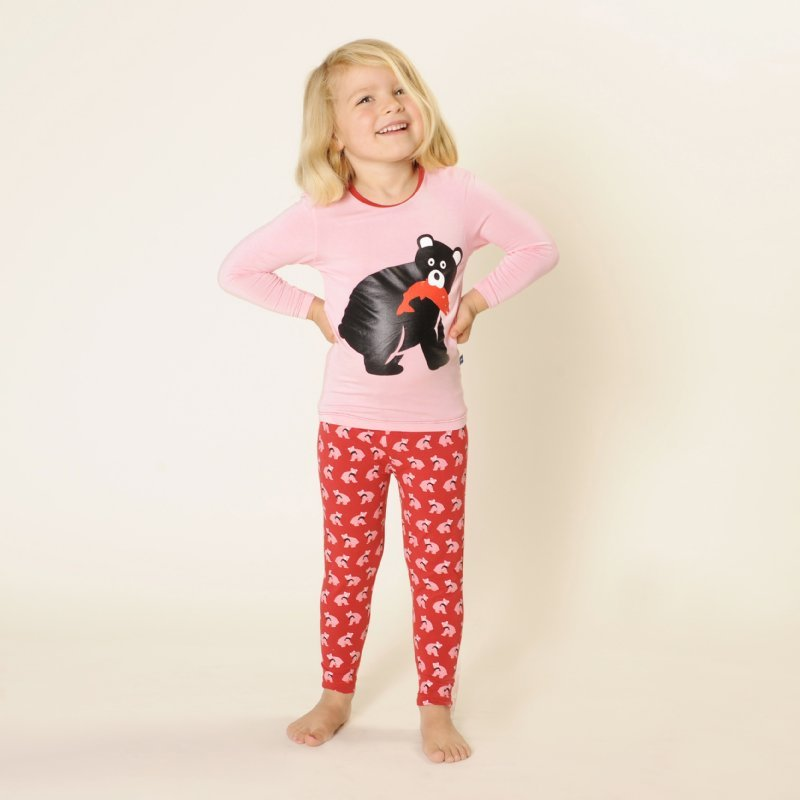 Kicky Pants Long Sleeve Pajama Set in Crimson Bear