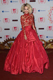 Rita Ora in red Marchesa.