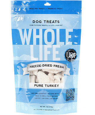 These Whole Life freeze-dried turkey treats ($14) also use freeze-drying to preserve flavor and nutrients without the use of additives or chemicals.