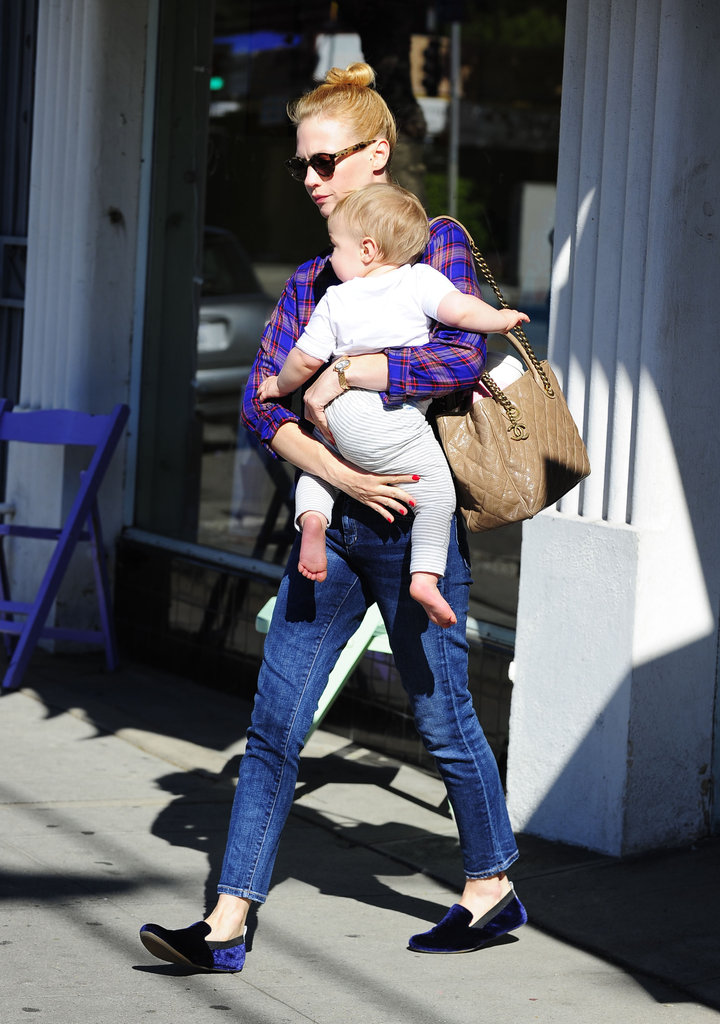 January Jones carried Xander during an outing in LA.